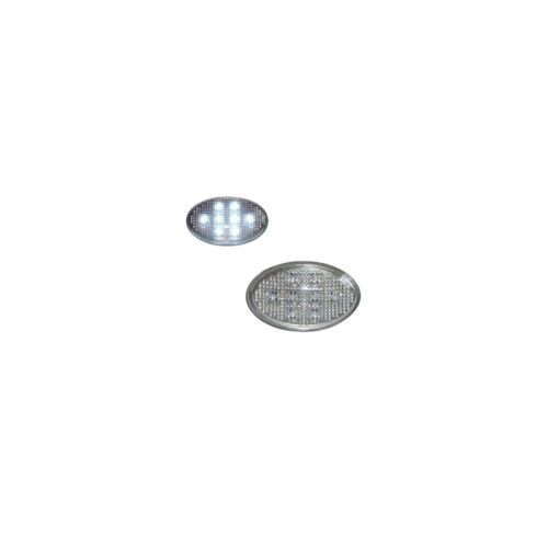 ACP Uni Silver Oval White LED's Side Repeaters Replacement Indicator