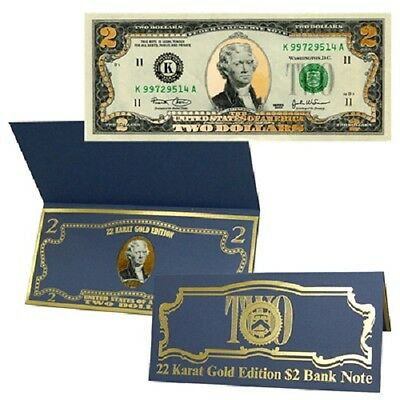 $2 Bill Gold Layered with 22kt Gold Bank Note Federal Bank Note Crisp Cond