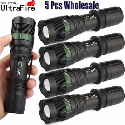 Ultrafire Tactical 5PCS 50000LM Flashlight Zoomable 3 Modes Torch CREE T6 LED