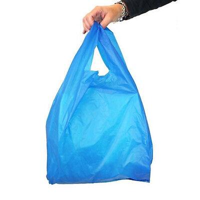 100x Plastic Carrier Bags Blue Vest Large Size 17x11x21