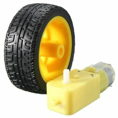 Usa Smart Car Robot Plastic Tire Wheel With Dc 3-6v Gear Motor For Arduino New