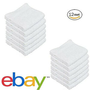12 WHITE COTTON WASHCLOTHS DURABLE TOWELS HOTEL FACIAL BARBER SALON GYM 12X12