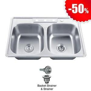 Topmount Stainless Steel Double Kitchen Sink