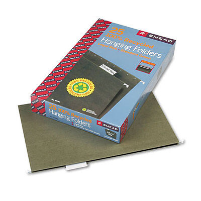 Smead Recycled Hanging File Folders 15 Tab 11 Point Legal Green 25box 65061