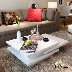New Modern Rotas Coffee Table in High Gloss White Finish Rotary/Extendable Deco