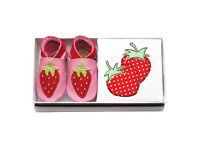 INCH BLUE Girls Boys Baby Shoe Babygro Gift Set - EMBROIDERED strawberres 0-6