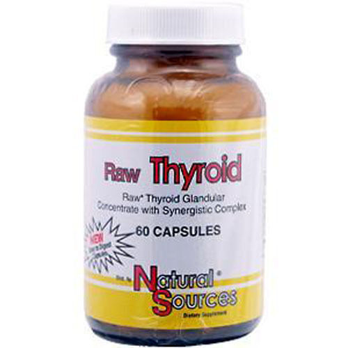 RAW THYROID, 390mg x 60Caps, Natural Sources, 24Hr Dispatch