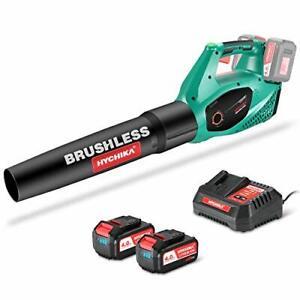 HYCHIKA 36V Cordless Leaf Blower Brushless 2pcs 4.0Ah Battery 2 Variable Speeds