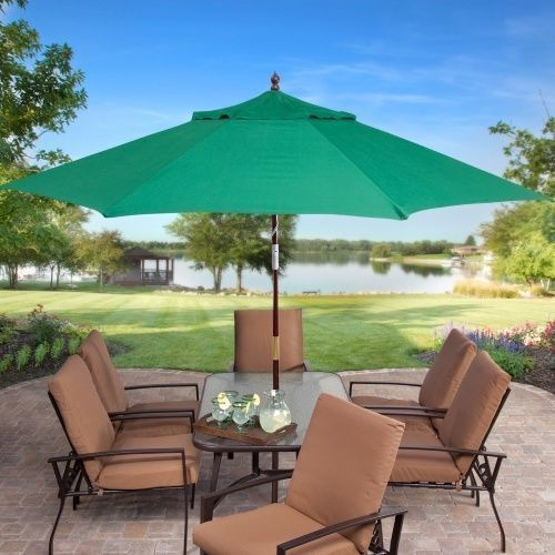 Key Largo 11 Ft Wood Market Patio Umbrella