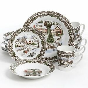 gibson home christmas toile 16 piece dinnerware set multicolor - Dishware Sets