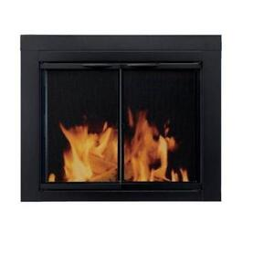 Exceptionnel Fireplace Glass Doors Black