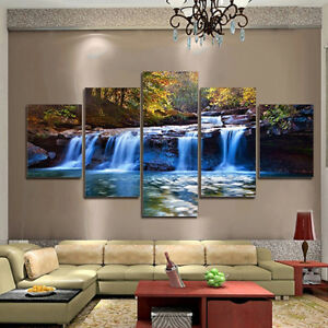 5pcs Unframed Waterfall Wall Art Pictures Canvas For Living Room Home Decor  Tall