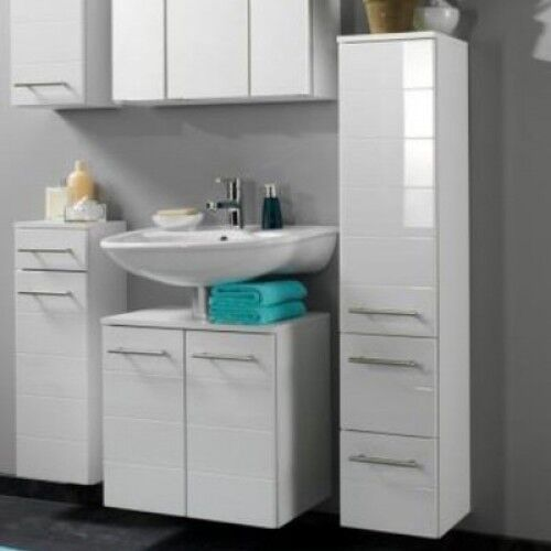 white bathroom cabinet wall mounted gloss tall cupboard storage drawers unit