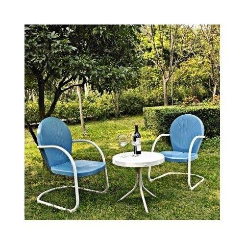 3 PC Blue Retro Patio Set Metal Retro 50s Style Outdoor Lawn Porch Furniture