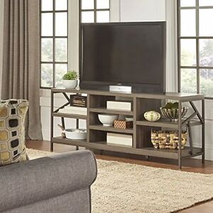 rustic tv stand center distressed wood media console table storage