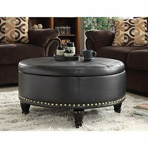 office star bpauot32b3 augusta eco leather round storage ottoman black new - Brown Leather Ottoman