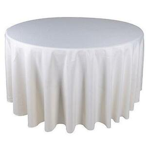 Charmant 120 Round Ivory Tablecloths