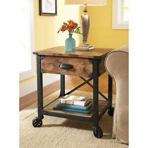 rustic end table industrial vintage style wood pine furniture country accent
