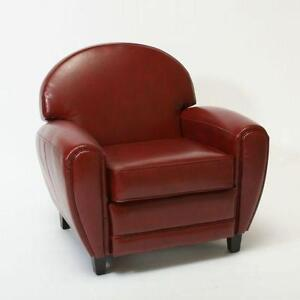 Merveilleux Red Leather Club Chair