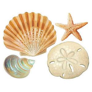 WALLIES SHELLS Wall Stickers 24 Decals Bathroom DECORATION Seashells Ocean  Beach
