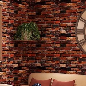 3D Red Brick Wallpaper Roll Retro Stone Brick Wall Background Textured Art  Home.
