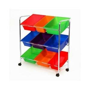 Seville WEB375 Mobile Toy Storage Organizer 9 Bins In Fun Colors