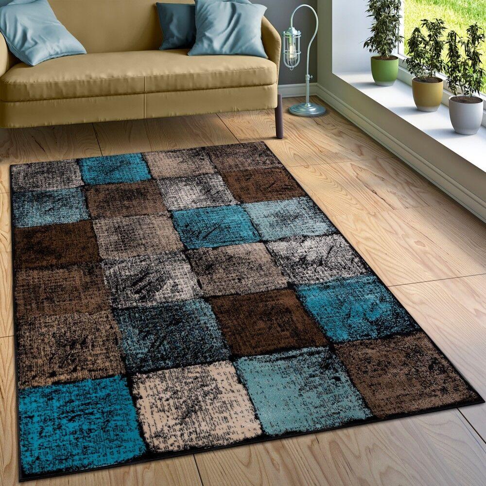 Designer Teppich Wohnzimmer Ausgefallene Farbkombination Karo Türkis Braun  Creme