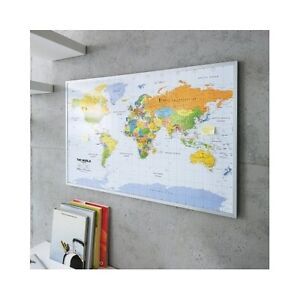 World Map Pin Board 90x60cm Includes 12 Flags Pins English Office  Noticeboard