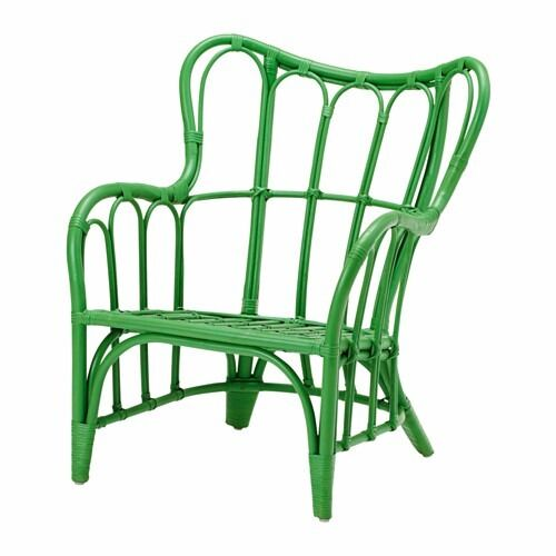 IKEA   Nipprig Green Rattan Chair