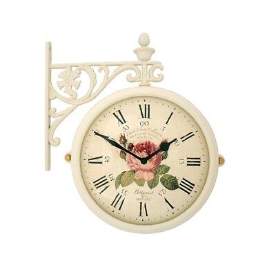 antique flower double sided wall clock home decor station clock gift m195ivf