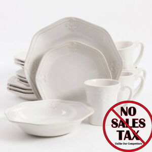Fleur de Lis 16 piece White Dinnerware Dishes Set Dinner Plates Dish Kitchen Cup & Fleur-de-lis Dinnerware Set | eBay