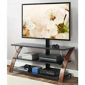 TV Stand With Swinging Mount Storage Holder Modern Entertainment Center  Cherry