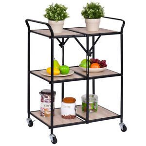 3 Tier Folding Kitchen Trolley Cart Rolling Serving Dining Storage Shelves  New