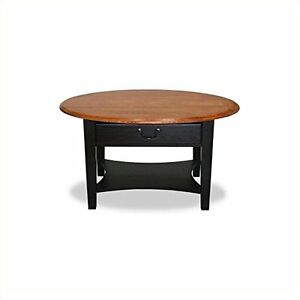 Leick Furniture 9044 SL Oval Coffee Table Slate Black