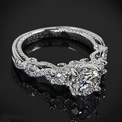 CERTIFIED VINTAGE 3.45CT WHITE ROUND CUT DIAMOND WEDDING RING IN 14KT WHITE  GOLD, Used