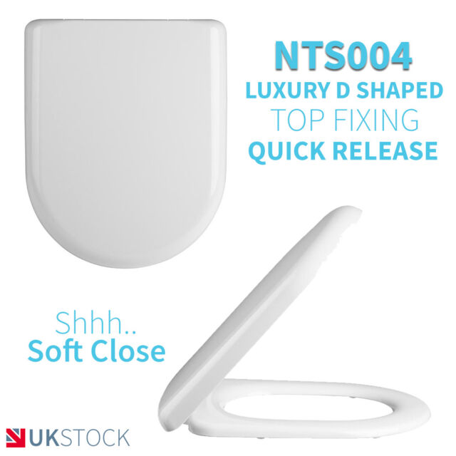 D Shaped Soft Close Back To Wall / Close Coupled Toilet Top Fixing Seat
