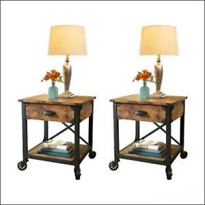 Rustic End Tables Country Pine Finish Wood Metal Side Nightstand  Set Of 2  NEW