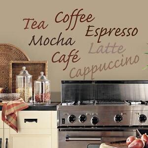 COFFEE WALL DECAL Vinyl Sticker KITCHEN WORDS Wall Décor Coffee Tea Theme  Decor