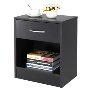 Night Stand 2 Layer Bedside End Table Organizer Bedroom Nightstand Black