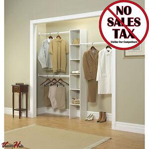 Closet Wardrobe Storage Rack Bedroom Kit 12 In White Custom Organizer  Clothing