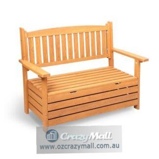 2 Seater Fir Wood Wooden Outdoor Storage Bench