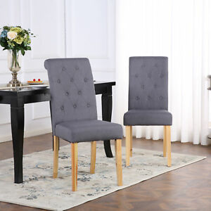 2 X DELUXE FABRIC DINING LIVING ROOM CHAIRS SCROLL HIGH BACK DARK GREY Part 87