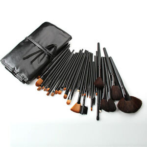Pro Makeup Cosmetic Tool 32 Pcs Black Brushes Set Eyeshadow Lip Blush Brushes
