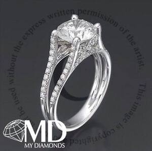 DIAMOND ENGAGEMENT RING 1.70 CARAT ROUND NEW ELEGANT 14KT SOLID WHITE GOLD