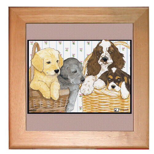"Dog Kitchen Ceramic Trivet Framed in Pine 8"" x 8"""