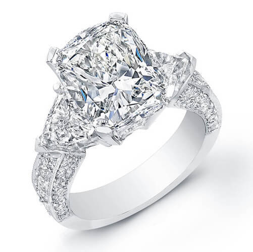 2.10 Ct Cushion Cut,Trillion Micro Pave Round Diamond Engagement Ring F,VVS2 GIA