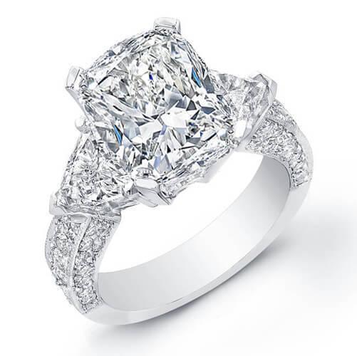 2.10 Ct Cushion Cut,Trillion Micro Pave Round Diamond Engagement Ring F,VVS2 GIA