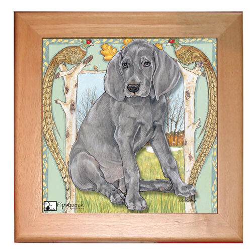 "Weimaraner Dog Kitchen Ceramic Trivet Framed in Pine 8"" x 8"""