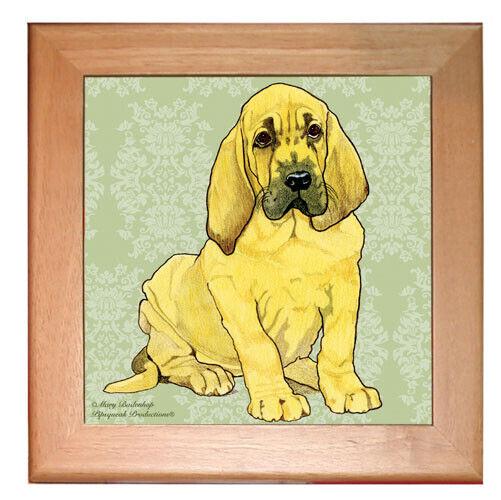 "Bloodhound Dog Kitchen Ceramic Trivet Framed in Pine 8"" x 8"""