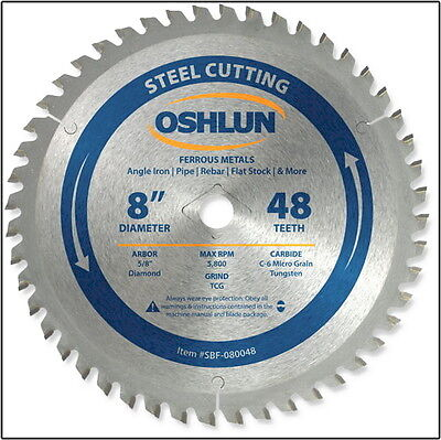 "OSHLUN  SBF-080048  8"" x 48T Steel Cutting Saw Blade"